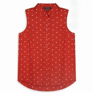Red pokadot button up tank top
